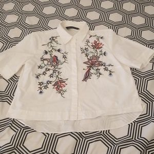 Zara White Top with Embroidery